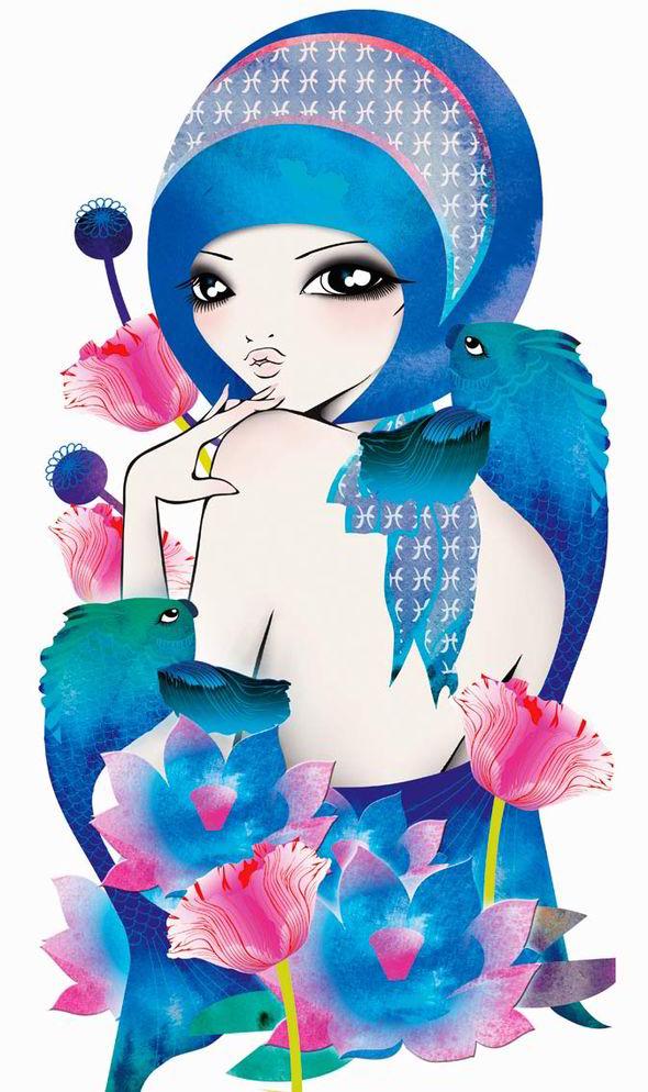 cute astrology art pisces